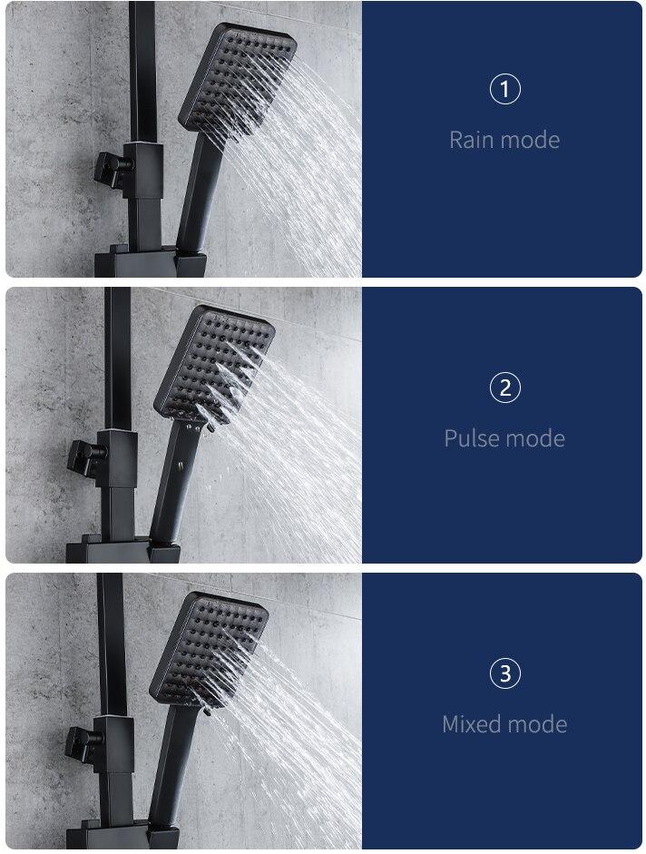 Hca194bebed4f4fcbae3cbea2dfe39ae3L Piano Digital Bathroom Shower Set SDSN 12 Inch Rainfall Shower Head Solid Brass Bathroom Faucets Matte Black Thermostatic Shower