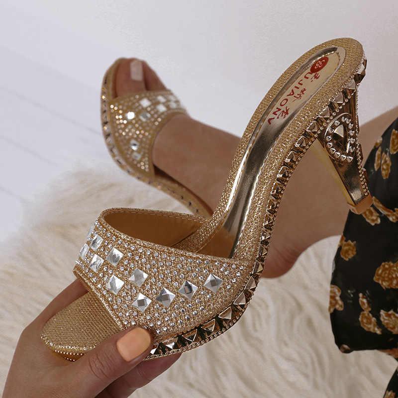Mùa Hè Giày Sandal Nữ Đính Kim Cương Giả Nữ Giày Nữ Gợi Cảm Giày Cao Gót Giày Nữ Sandalias Vàng Bạc Nữ Dép Nữ Quai Kẹp Đế