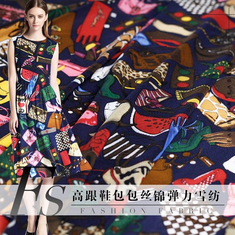 High-heeled Bag Printed Silk Brocade Stretch Chiffon Fabric Summer Dress Blouse Clothing Fabric