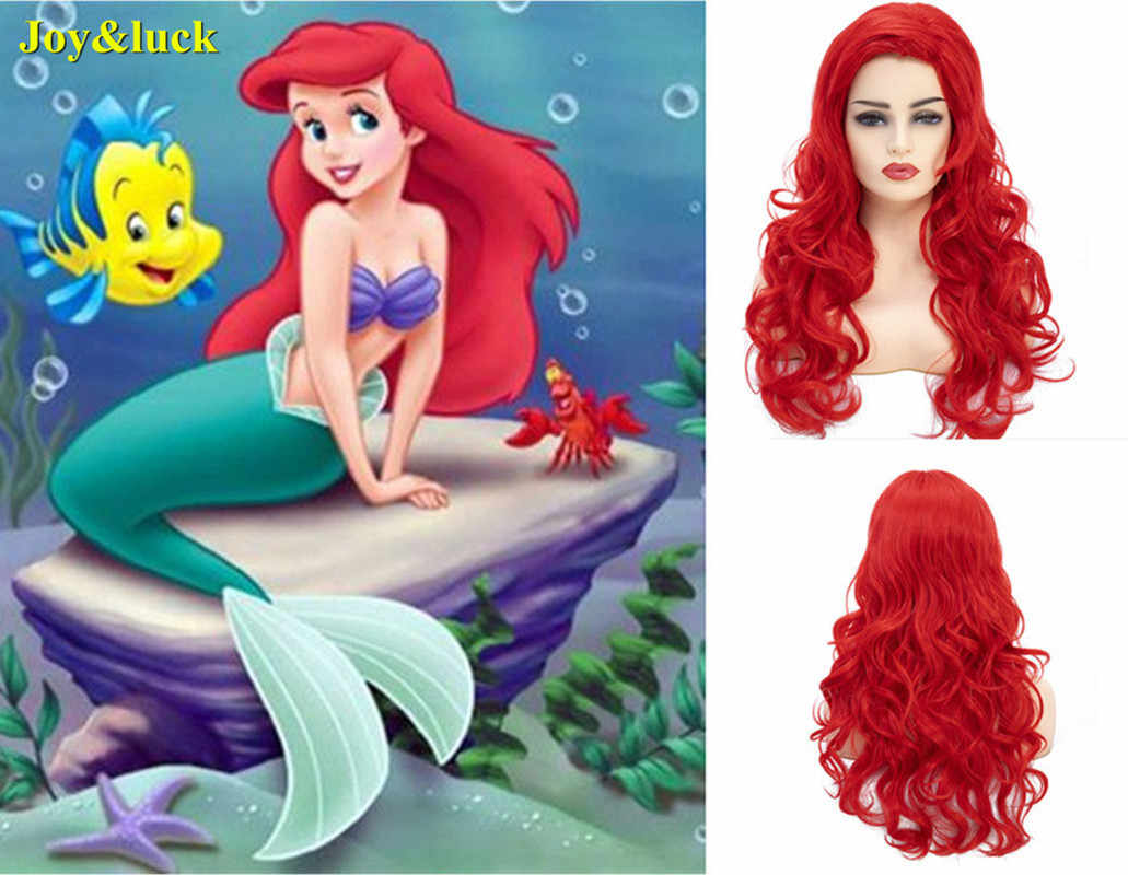 Joy&luck 26inch Long Hot Sale Mermaid Cosplay Wigs Natural Wave Wig Red Color Synthetic Wig for Women Costume Hair Style