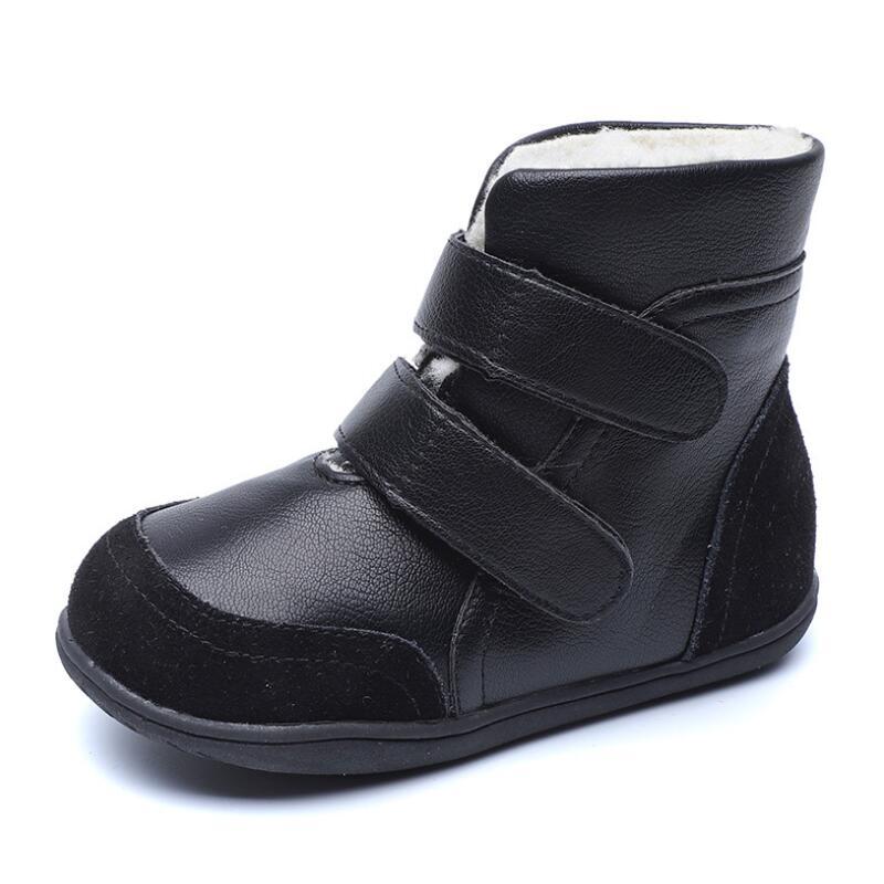 SKHEK Kids Boots 2019 Winter New  Leather Children Martin Boots For Boys Shoes Fashion Plush Warm Non-slip Rubber Snow Boots