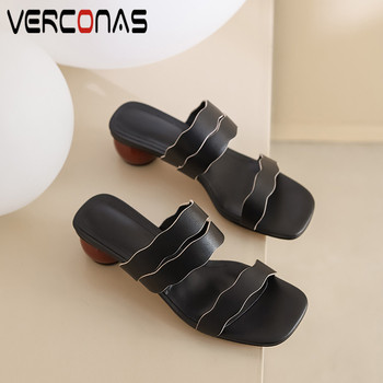 VERCONAS  2020 Summer Woman Sandals Woman Pumps Classic Design Genuine Leather Casual Square Toe Round High Heeled Shoes Woman