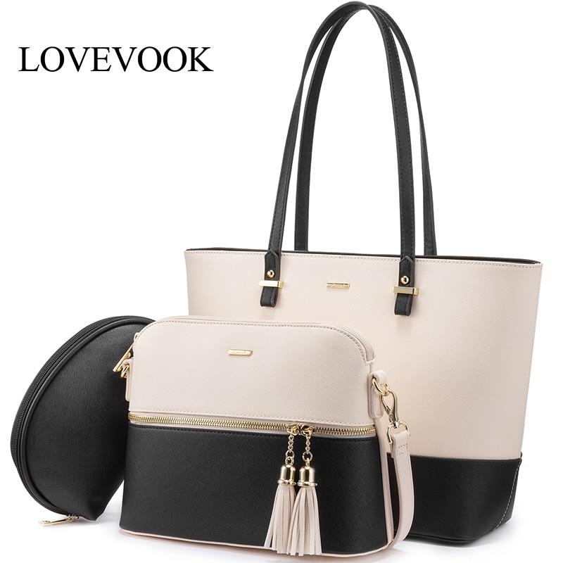 LOVEVOOK Bag Set Women Handbags Large Tote Crossbody Bags For Women Shoulder Messenger Bag For Ladies Patchwork Mini Makeup Bags