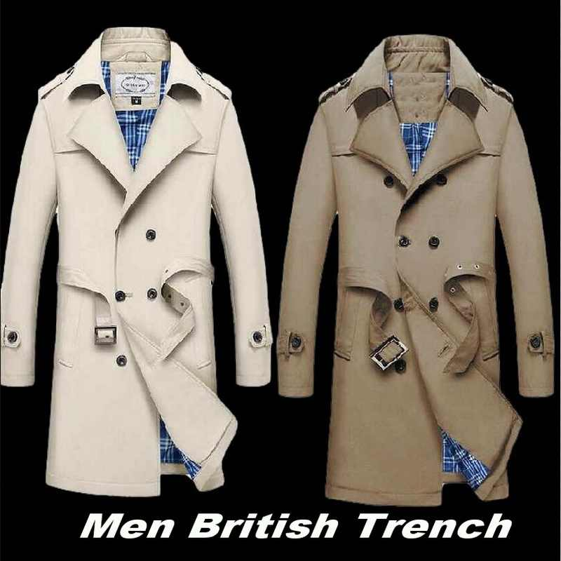 Britse Geul Mannen Slanke Double Breasted Heren Lange Trenchcoat Trenchcoat Jacket Mannelijke Jas Business Casual Rench