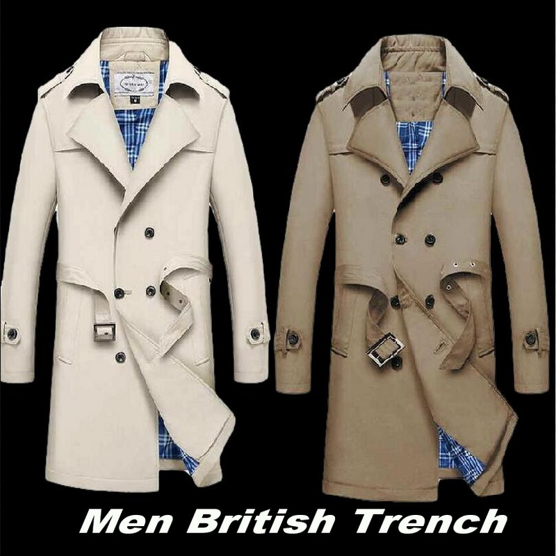 Trench-Coat Jacket British Double-Breasted Long Mens Male Casual Slim Business