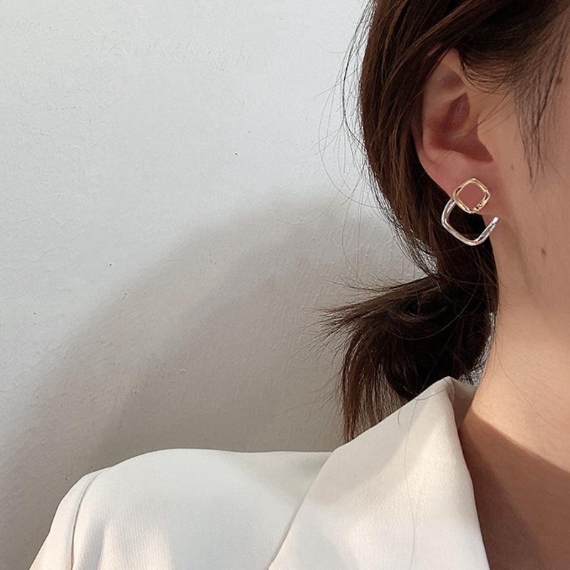 Купить корейские новые модные геометрические металлические серьги гвоздики