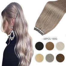[NEW] Real Human Hair PU Skin Weft Tape in Extensions Natural Straight Machine Remy 40 Pcs Double Sided Adhesive Tape on