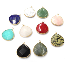 Natural Stone Agates Pendants Water drop shape Pendant for Jewelry Making Diy necklace accessories Size 29x33mm цена
