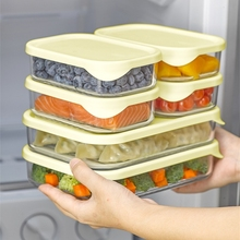 Glass Food Container with Silicone Lid Storage Box Lunch Bento Oragnizer Kitchen Accessories Tableware Microwave Available Tools