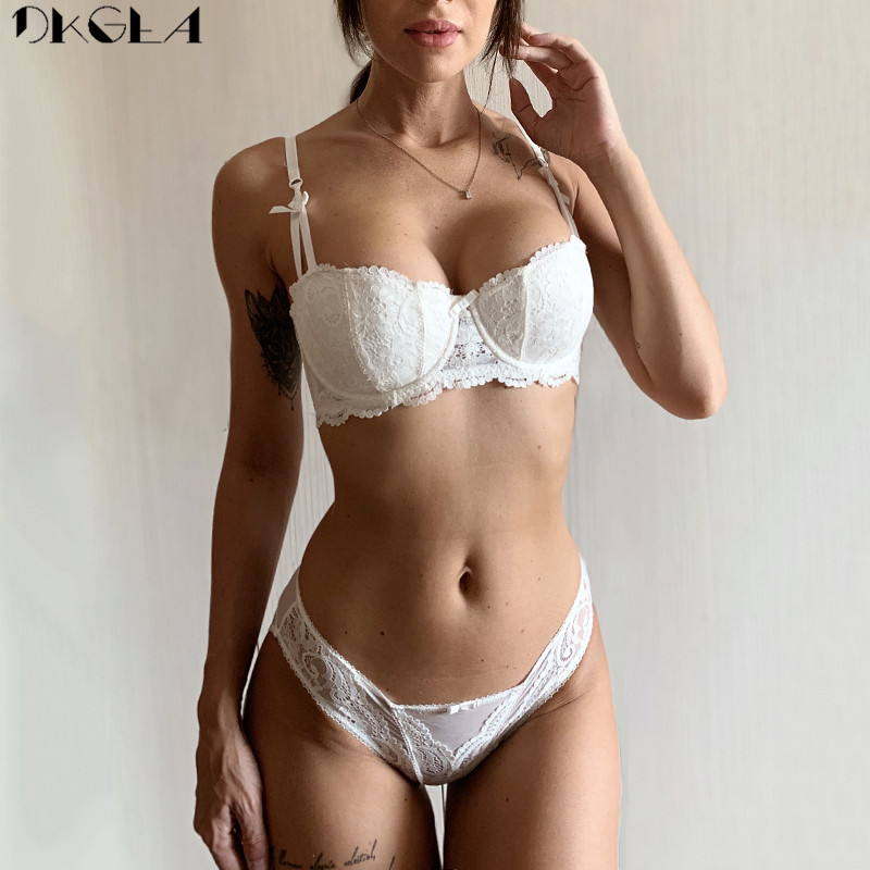 Brand Half Cup Bra Set Women Lingerie Embroidery White Brassiere Thin Cotton Push Up Bras Sexy Lace Underwear Set A B C D Cup
