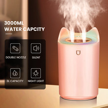 Difusor duplo do aroma da névoa do escritório em casa do umidificador de ar do bocal 3000ml com luz colorida do diodo emissor de luz