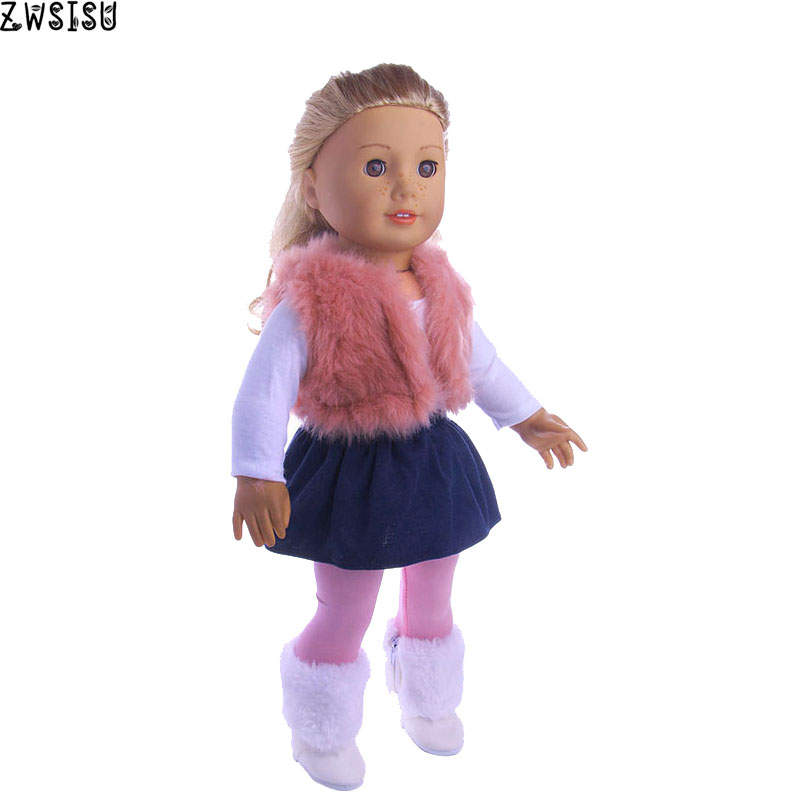 4Pcs/Set Doll Clothes Vest T-shirt Skirt Leggings For 18 Inch American&43 Cm Born Doll For Generation Christmas Baby Girl`s Toy