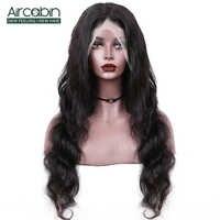 Aircabin-pelucas de malla con división HD para mujer postizo de cuerpo ondulado, brasileño, 30 pulgadas, sin pegamento, Color Natural, Remy, cabello humano con encaje frontal, Color negro