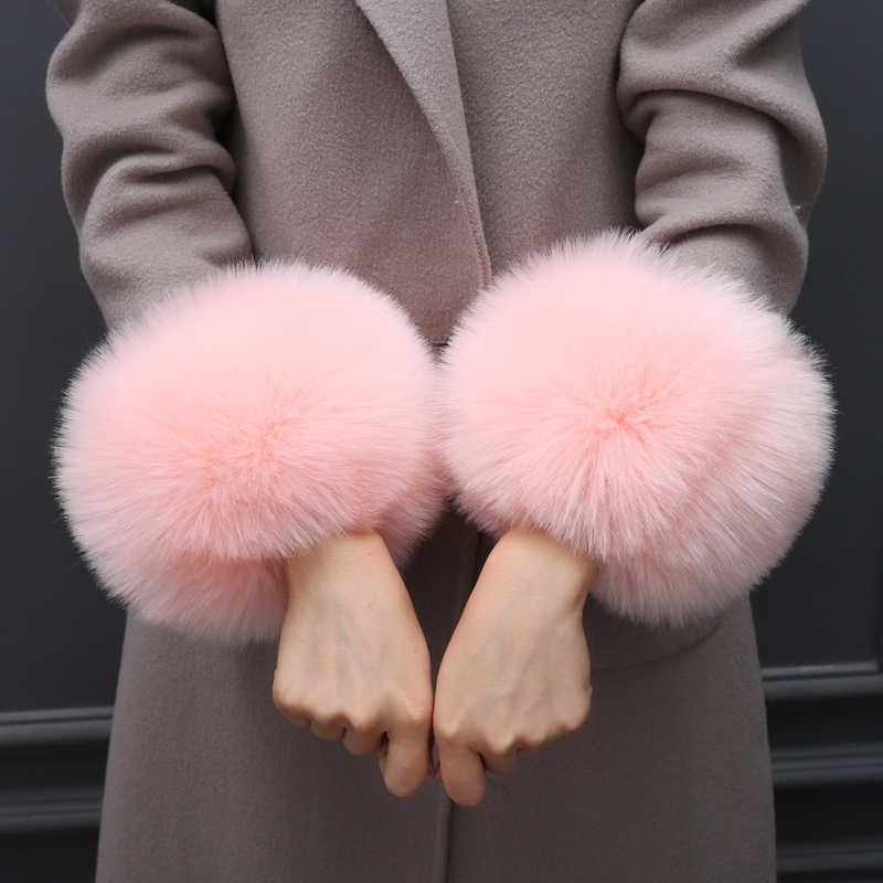 Mode Hand Ring Oversleeps Wraps Winter Warm Faux Vos Bont Manchetten Polsband Voor vrouwen Warmer Manchetten Arm Warmers Effen kleur