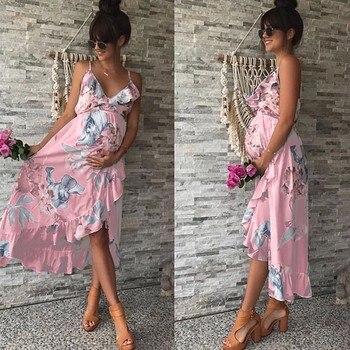 Ladies Maternity Dress Flower Print Ruffle Dress Sleeveless Sundress Clothes Casual Dress Summer Dress  For Women brief sleeveless note bird print belted women s dress