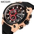 MEGIR мужские s часы Топ бренд Роскошные силиконовые спортивные часы для мужчин Relogio Masculino розовое золото хронограф наручные часы Мужские часы