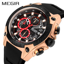MEGIR Mens Watches Top Brand Luxury Silicone Sports Watch for Men Relogio Masculino Rose Gold Chronograph Wristwatch Man Clock(China)