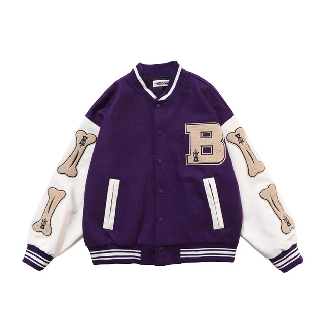 Hip Hop Furry Bone Patchwork Color Block Jackets Mens Harajuku College Style Bomber Jacket Men Baseball Coats 3 color 3