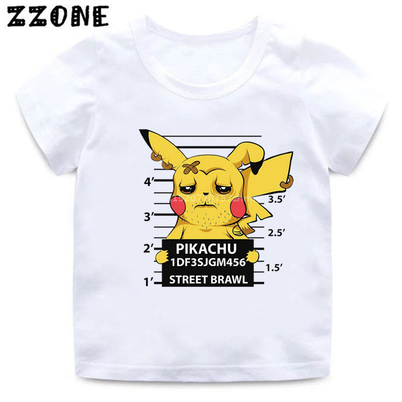 2020 New Baby Boys T shirt Criminal Pikachu/Charmander Pokemon Go Kids T-Shirts Cartoon Girls Tops Clothes For Children,HKP5361 image