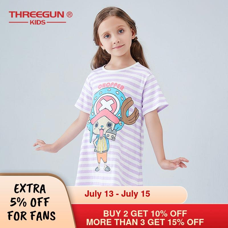 THREEGUN X One Piece Girls Nightgown Night Dress TONY TONY CHOPPER Pajamas Homewear for Children Girls Sleepwear Nightwear