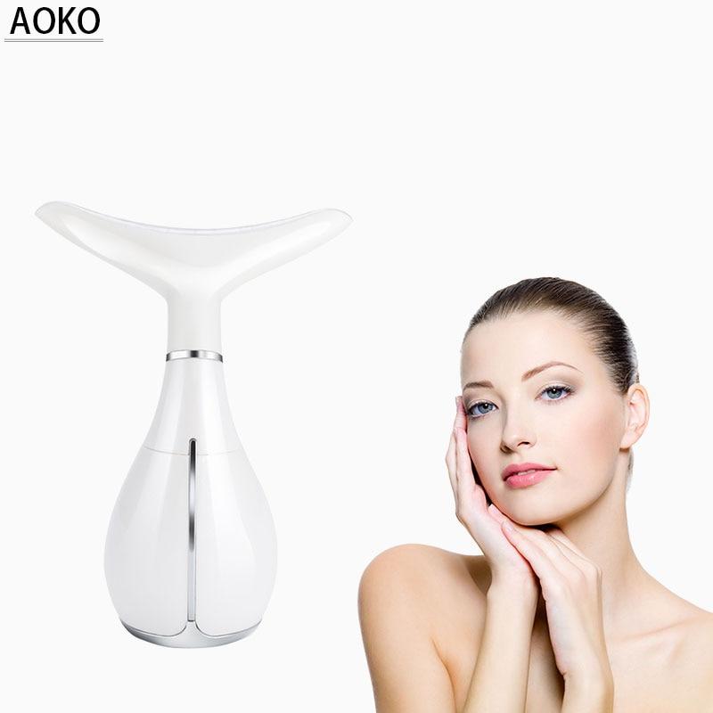 AOKO Transmissão RF Cuidados Com A Pele Do Pescoço Massager Vibração Dispositivo de Remoção Do Enrugamento LED Photon Terapia Pescoço Levantamento Máquina da Beleza