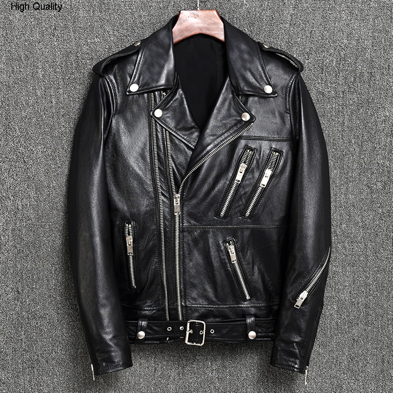 2020 Men's Double Zipper Motorcycle Leather Jacket With Belt Balck Sheepskin Slim Fit Moto Biker Jacket Men Rivet Rider Coat Mal