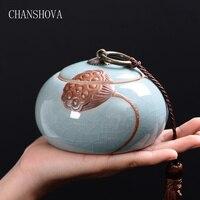 Chanshova estilo chinês tradicional alívio lotus crackle cerâmica caixa de chá selado à prova de umidade china chá recipiente de armazenamento h028