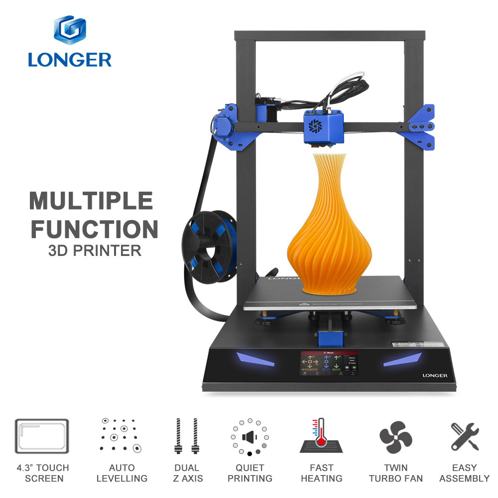 LONGER LK1 PRO 3D Printer Auto Leveling Dual Z-axis Ultra Quiet Printing 4.3