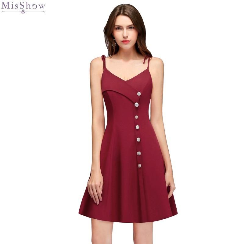 Cocktail Dresses Knee Length 2019 Burgundy Short Formal Party Gown Elegant A Line V Neck Sleeveless Robe Coctail