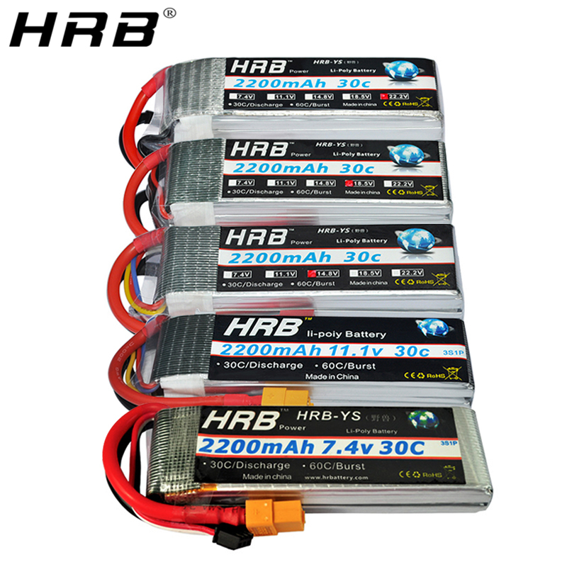 HRB 2200mah 2S 7.4V Lipo Battery T Deans XT60 30C 3S 11.1V 14.8V 18.5V 22.2V 3.7V 4S 5S 6S RC Drone FPV Airplanes Car Boat Parts