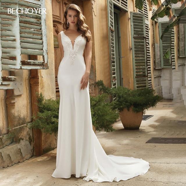 Vestido de Noiva Sexy zroszony satynowa suknia ślubna dekolt bez rękawów Backless syrenka BECHOYER V152 dostosowana suknia ślubna