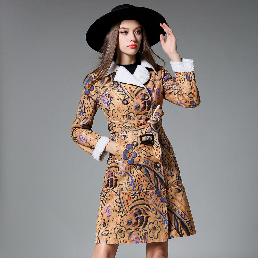 2019 Winter Women's   Leather   Jackets Long Sleeves Floral Printed   Suede   Jacket Turn-down Collar Sashes Patchwork Female Coats N618