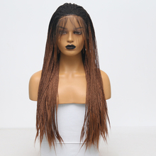 Wigs Braided Lace-Front Synthetic Black Women Baby-Hair Heat-Resistant Brown AIMEYA