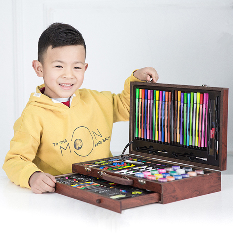 Child Drawing Kit 130-Piece Wooden Box Painted Painting Crayon Young STUDENT'S Watercolor Pen Fine Art Scriptum Wholesale