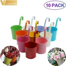 10 pçs parede pendurado potes de metal vasos de flores jardim plantador potes balde pendurado plantador vaso de flores balde de lata de doces decoração da sua casa