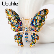 Fashion Colorful Crystal Butterfly Brooches For Women Collar Pins Corsage Rhinestone Insect Brooch Clothing Jewelry Accessories jujie fashion crystal deer brooches coat clothing scarf lapel pins elk corsage fashion jewelry