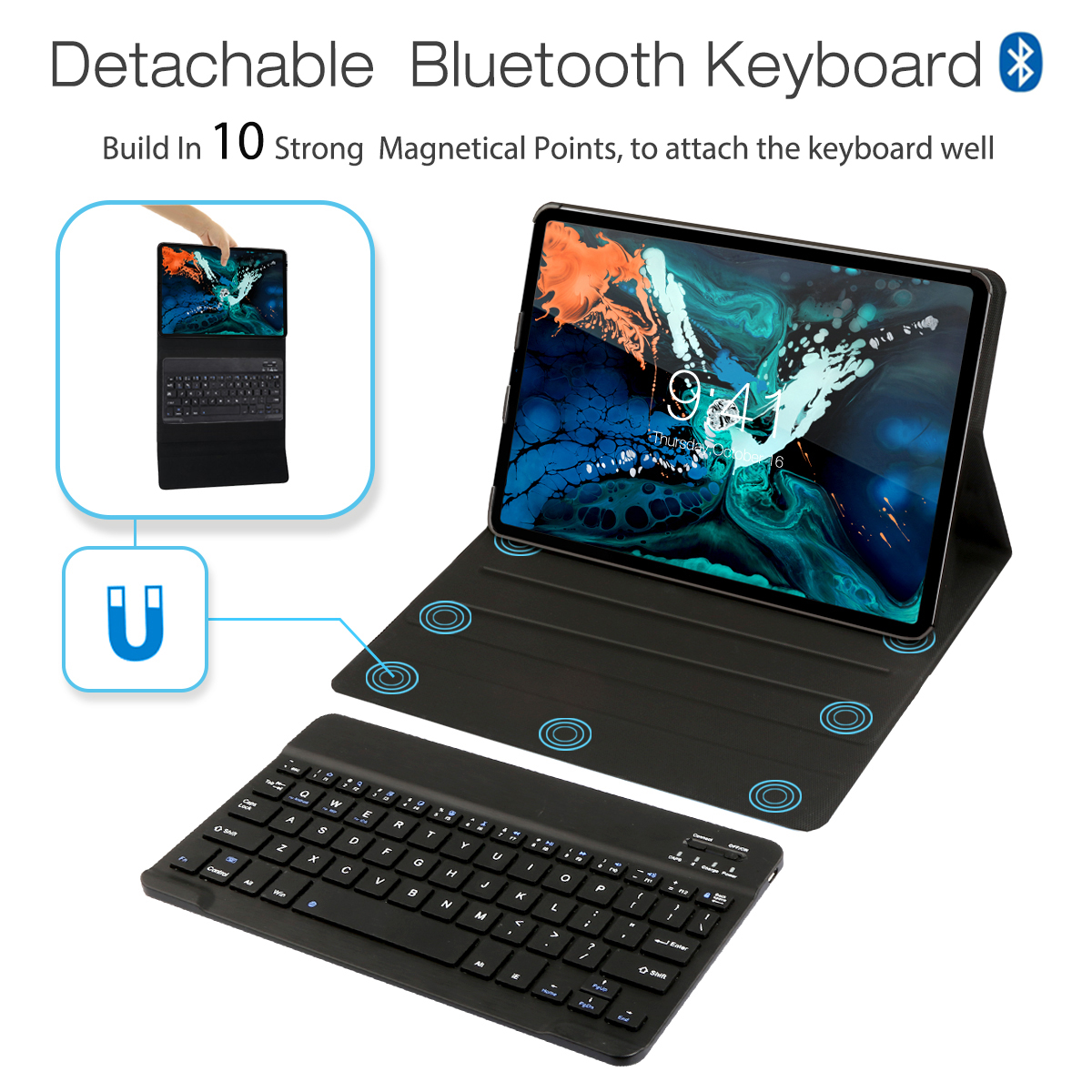 Bluetooth Keyboard Case For Apple iPad Pro 11 inches with 3 Systems Wireless American Language Blue Keyboard for Tablet in Tablets e Books Case from Computer Office