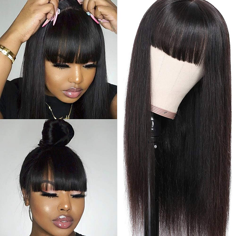 Brazilian Remy Straight Human Hair Wigs With Bangs 28 Inch Long Natural Wig Full Machine Made Wig For Women Pre Plucked