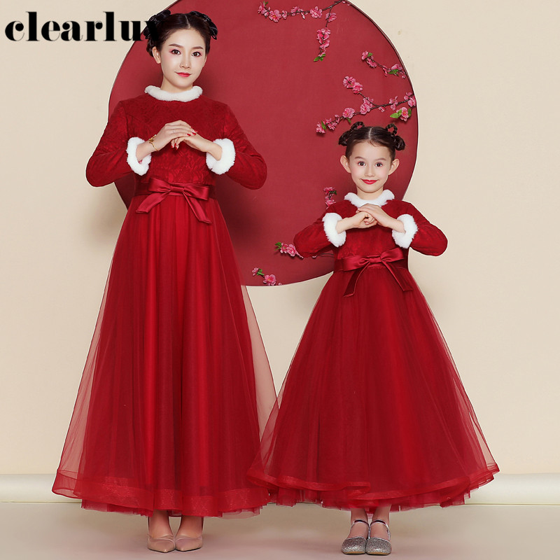 Parent Child Formal Evening Dress DB155 Red A-Line Vestidos De Fiesta High Collar Long Sleeve Banquet Gown For Mom And Daughter