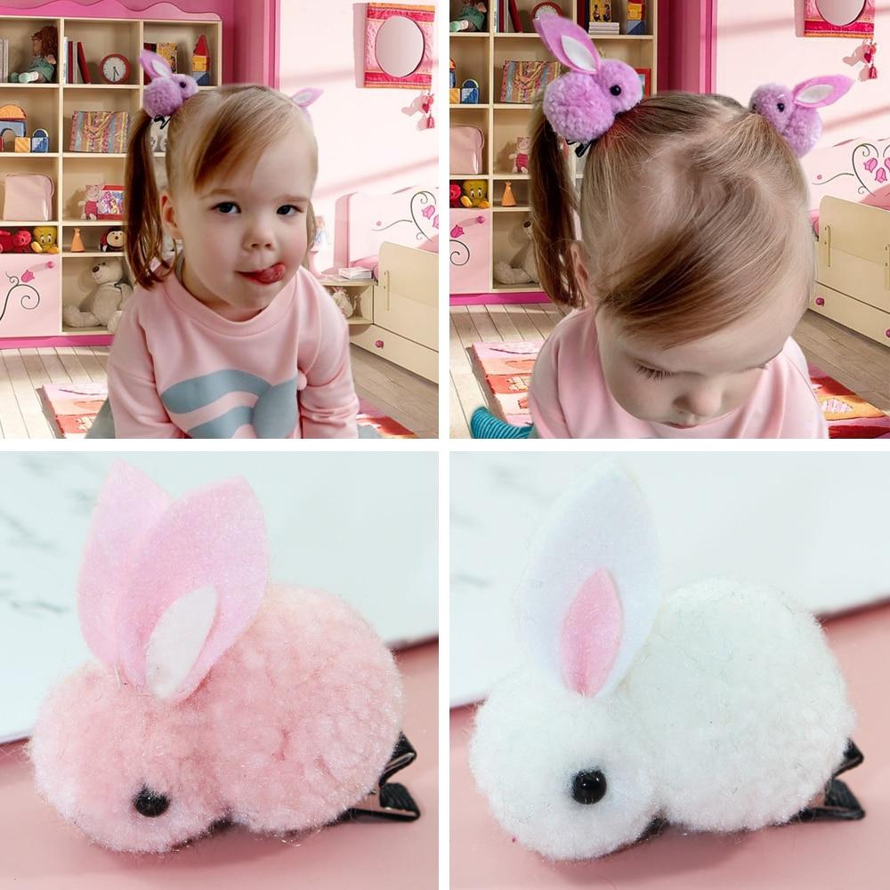 Korean Cute Hair Ball Rabbit Hair Clip Hairpin Simple For Girl Plush Rabbit Ears Cute Kids Baby Headwear