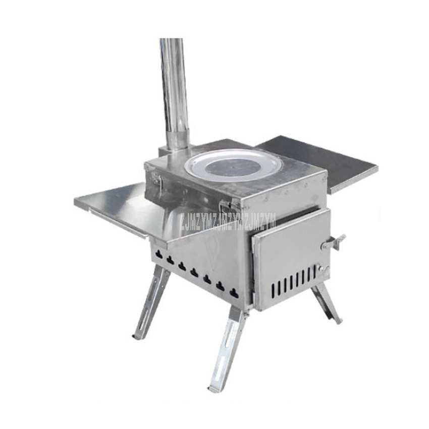 Outdoor Firewood Stove Portable Picnic Equipment Carbon Steel/Stainless Steel Camping BBQ Folding Foldable Cooking Stove M Size