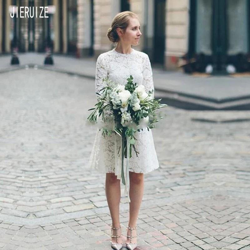 JIERUIZE Short White Lace Wedding Dresses O Neck Long Sleeve Zipper Back Knee-Length Bridal Gown Wedding Gowns Robe De Mariee
