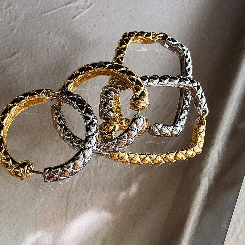 HUANZHI 2020 в ретро-стиле, покрыто золотом, серебром, сращивания серьги-кольца из металла с геометрическим рисунком, круглая, квадратная, серьги ...