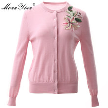MoaaYina Fashion Knitting Cardigan Sweater Spring Women Long sleeve Beading Sequin lily Casual
