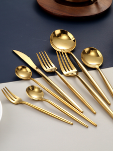 Tableware Fork-Sets Spoons-Knives Mirror Chopstick Stainless-Steel Gold