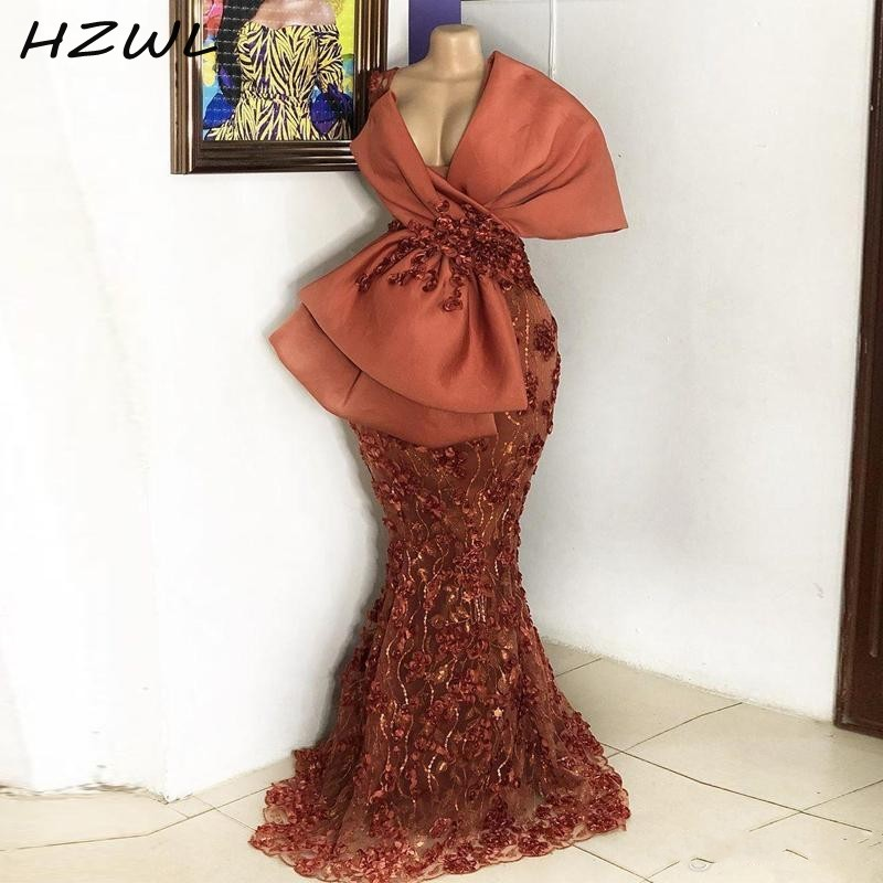Sexy African Mermaid Evening Dresses With Lace Appliques Beads Sequins Big Bow Prom Dress Long  Deep V Neck Plus Size Party Gown