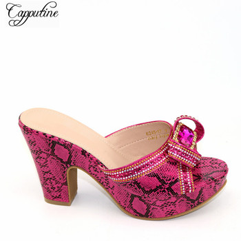 Nice Fuchsia Wedding/Party High Heel Pumps African Slip-on Shoes For Lady CFS17 Heel Height 10.5CM