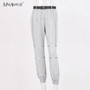 Image 5 - Mnealways18 Reflective Stripe Pants Women Streetwear Belt Knitted Female Casual Joggers Sweatpants Loose Pencil Pants Winter