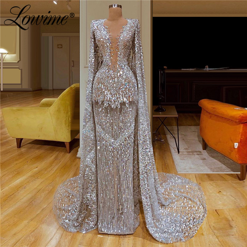 Luxury Silver Evening Dress Middle East Muslim Party Dresses Abendkleider Mermaid Capped Sleeves 2020 New Arrival Prom Dresses