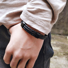 Vintage Multilayer Punk Black Leather Bracelet Men Braided Handmade Rope Wrap Charm Woven Bracelets Male Gift Sport Jewelry mkendn 2017 fashion stainless steel anchor bracelet men black braided cowhide leather rope bracelets wrap punk charm jewelry